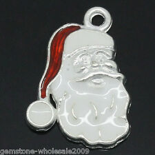 Wholesale W09  Charm Pendants Enamel Father Christmas Silver Plated 19x14mm