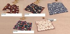 Men Women Cotton Floral Flower Rose Blue Red White Pocket Square Handkerchief