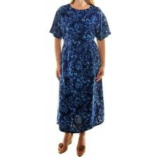 Plus Size We Be Bop Hand Crafted  Artsy Batik BLUE JEWELS Flat Rayon EASY Dress
