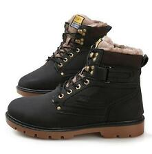 Winter Mens fur lined work ankle boots outdoor round toe lace up shoes size