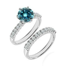 0.5 Ct Blue Diamond Fancy Wedding Anniversary Solitaire Ring Bnad White Gold