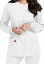 Dickies Medical Scrub White EDS Signature Snap Front Jacket Sz XS-XXL NWT