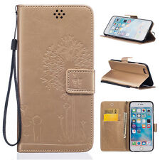 Couple Dandelion Leather Filp Stand Card Wallet Case Cover For iphone 6 6s Plus