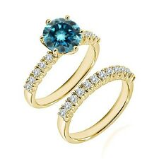 0.5 Ct Blue Diamond Fancy Wedding Anniversary Solitaire Ring Bnad Yellow Gold