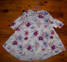 New! OLD NAVY Beige Purple Pink Yellow Cotton Floral Tiered Casual Shirt Dress