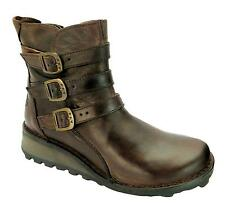 Fly London Myso Womens Dark Brown Zip Up Three Buckle Wedge Heel Ankle Boots New