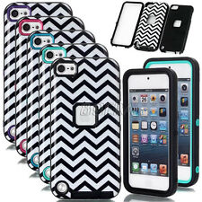 Armor Glossy Waves Pattern Heavy Duty Rugged Hybrid Case Skin For iPod Touch 5 6