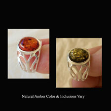 BALTIC GREEN or HONEY AMBER & STERLING SILVER HANDMADE MODERN RING