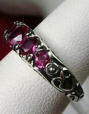 *Red Ruby* Solid Sterling Silver Edwardian/Georgian Filigree Ring Size: Any/MTO