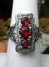 *Ruby*Gem Solid Sterling Silver Edwardian Design Filigree Ring Size: Any/MTO
