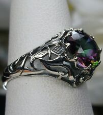 2ct *Mystic Topaz* Sterling Silver Victorian Daisy Filigree Ring Size Any/MTO
