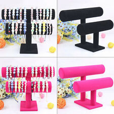 New Velvet T-Bar Jewelry Rack Bracelet Necklace Stand Holder Organizer Display