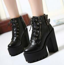 Womens Punk Shoes chunky Block Platform Heels Lace Up zip Ankle Boots pumps