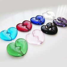 1 Pair Women Crystal Agate Colorful Heart Charming Pendant For Bracelet Necklace