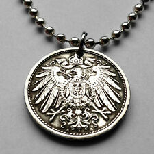Germany 10 Pfennig coin pendant crown GERMAN EAGLE necklace Deutschland n000315