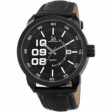 Joshua & Sons Men's Quartz Date Leather Black Strap Watch