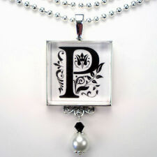 INITIAL LETTER P MONOGRAM VINTAGE CHARM SILVER OR BRONZE PEARL PENDANT NECKLACE
