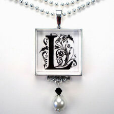 INITIAL LETTER L MONOGRAM VINTAGE CHARM SILVER OR BRONZE PEARL PENDANT NECKLACE