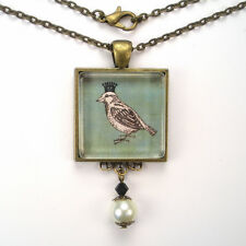 "BIRD W/ CROWN QUEEN ""VINTAGE CHARM"" BRONZE OR SILVER ART GLASS PENDANT NECKLACE"