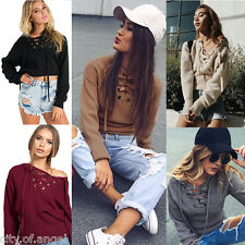 Womens Lace Up Casual Long Sleeve Knitted Knitwear Jumper Pullover Sweater Coats