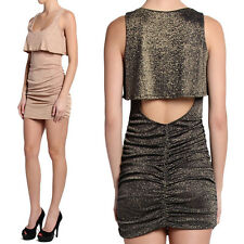 TheMogan Metallic Ruffle CutOut Back Mini Tank Dress Cocktail Party SExY Evening