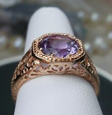 1.7ct Purple Amethyst Solid 14k Rose Gold Victorian Filigree Ring Size: Any/MTO