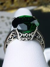 5ct Round *Emerald* Sterling Silver Vintage Filigree Ring Size: {Made To Order}