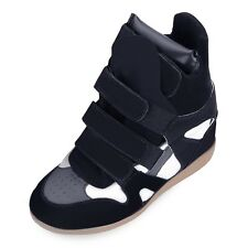 Womens High Top Trainer Hidded Wedge Ankle Sneakers Girls Lace Up Shoes AAU