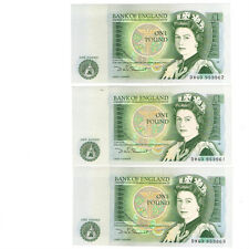 Old One Pound Notes £1 DW63953961/2/3 Somerset consecutive run x 3