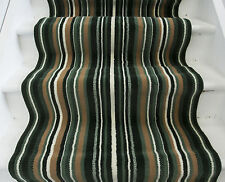 Lima Green Stripe Extra Long Runner Rug Wide Narrow Stair Carpet Any Length Cut