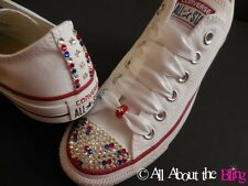 CONVERSE ALL STAR White with SWAROVSKI CRYSTALS PATRIOTIC exclusive design