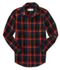 aeropostale kids ps boys' long sleeve plaid flannel woven shirt black