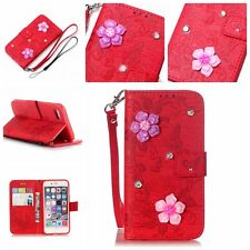 For iphone7, 7 plus 3D floral embossed  pu leather wallet flip phone case cover