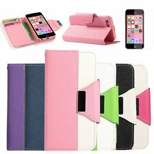 Wallet Flip Pouch Card Holder PU Leather Case Cover for Apple iPhone 5C