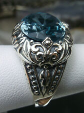 10ct Oval *Aquamarine* Sterling Silver Scroll Filigree Ring Size {Made To Order}