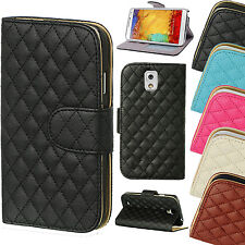 """For Apple iPhone 7 (4.7"""") Quilted Leather Magnetic Wallet Case Cover With Stand"""