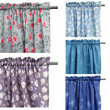 Pair of Rod Pocket Flower Printed Polyester Cotton Unlined Curtains - 115 x 213c