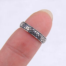 Noble Genuine 925 Sterling Silver Symbol Band Ring Size 4 Jewelry H562
