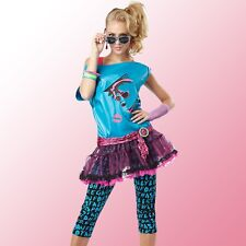 Womens 80s Valley Girl Costume Pop Star 1980s Material Girl Retro Party Outfit