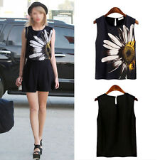 Women Summer Flower Print Sleeveless Tank Vests Chiffon Tops T-Shirts Plus Size