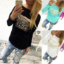 Fashion Womens Loose Pullover T Shirt Long Sleeve Tops New Casual Shirts Blouse