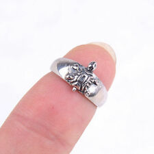 Genuine Adorable Fashion 925 Sterling Silver Tortoise Carved Ring Size 4 H553