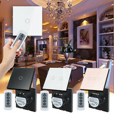 1/2/3 Gang Touch Light Wall Switch Glass Panel LED Backlight+ Remote Control EU