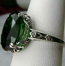 5ct*Green Emerald* Sterling Silver Edwardian Design Filigree Ring Size Any/MTO