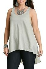 Umgee USA Women's Plus Size Black and Gray Hi-Lo Contrast Tank