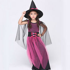 Purple Girl's Princess Witch Fancy Dress Witches Halloween Costume Outfit Hot