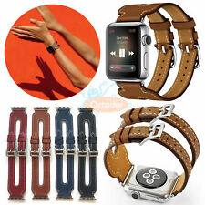 Double Buckle Cuff Luxury Leather band Strap for Apple Watch Serie 3/2/1 38/42mm