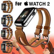 Double Buckle Cuff Bracelet Leather Strap Wrist Band For Apple Watch Series3/2/1