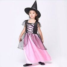Elegant Girl Sorceress Witch Halloween Fancy Dress Costume Outfit Size S-XL Pink
