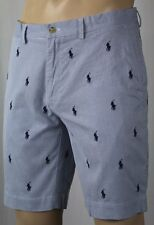 """Polo Ralph Lauren Blue Pinstripe Classic Fit 9"""" Chino Shorts Multi Ponies NWT"""